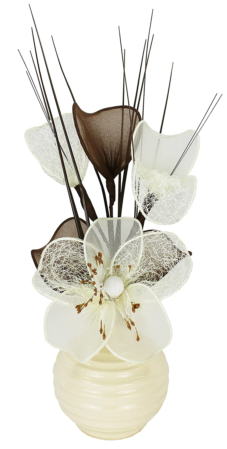 Cream Vase with Cream Artificial Flowers, Ornaments for Living Room, Window Sill, Home Accessories, 32cm Flourish 790301