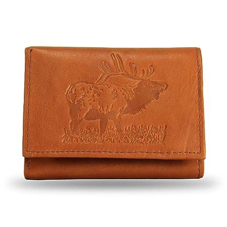 10f193de20768 Amazon.com   Rico Industries Bugling Elk Embossed Tan Trifold Wallet ...