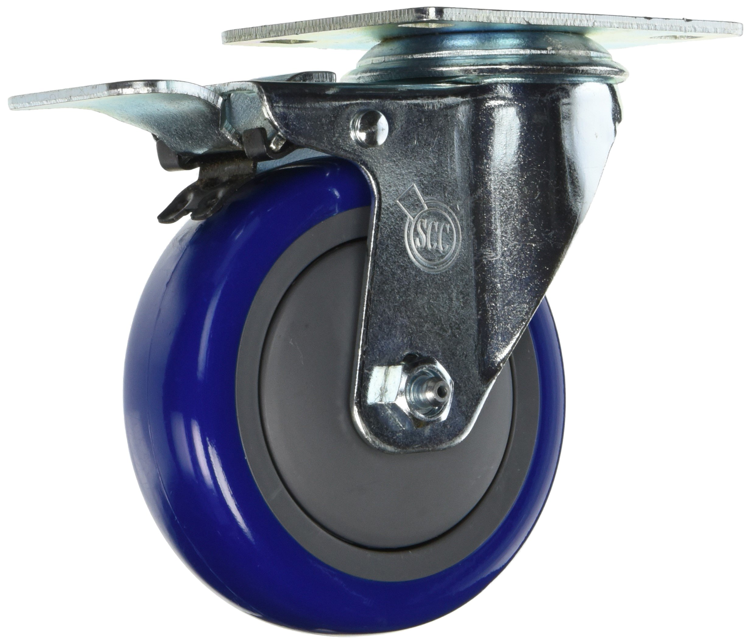 Service Caster SCC-TTL20S414-PPUB-BLUE-4 Swivel Caster Total Lock Brake, Blue Polyurethane Tread, Top Plate, 4'' Size (Pack of 4)