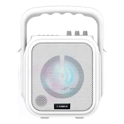 Fisher Mini Wireless Stereo System, Karaoke PA Speaker, 4 5-Inch Subwoofer,  Bluetooth, FM Radio Player, Karaoke Features w/Mic Input, LCD Lights, Aux