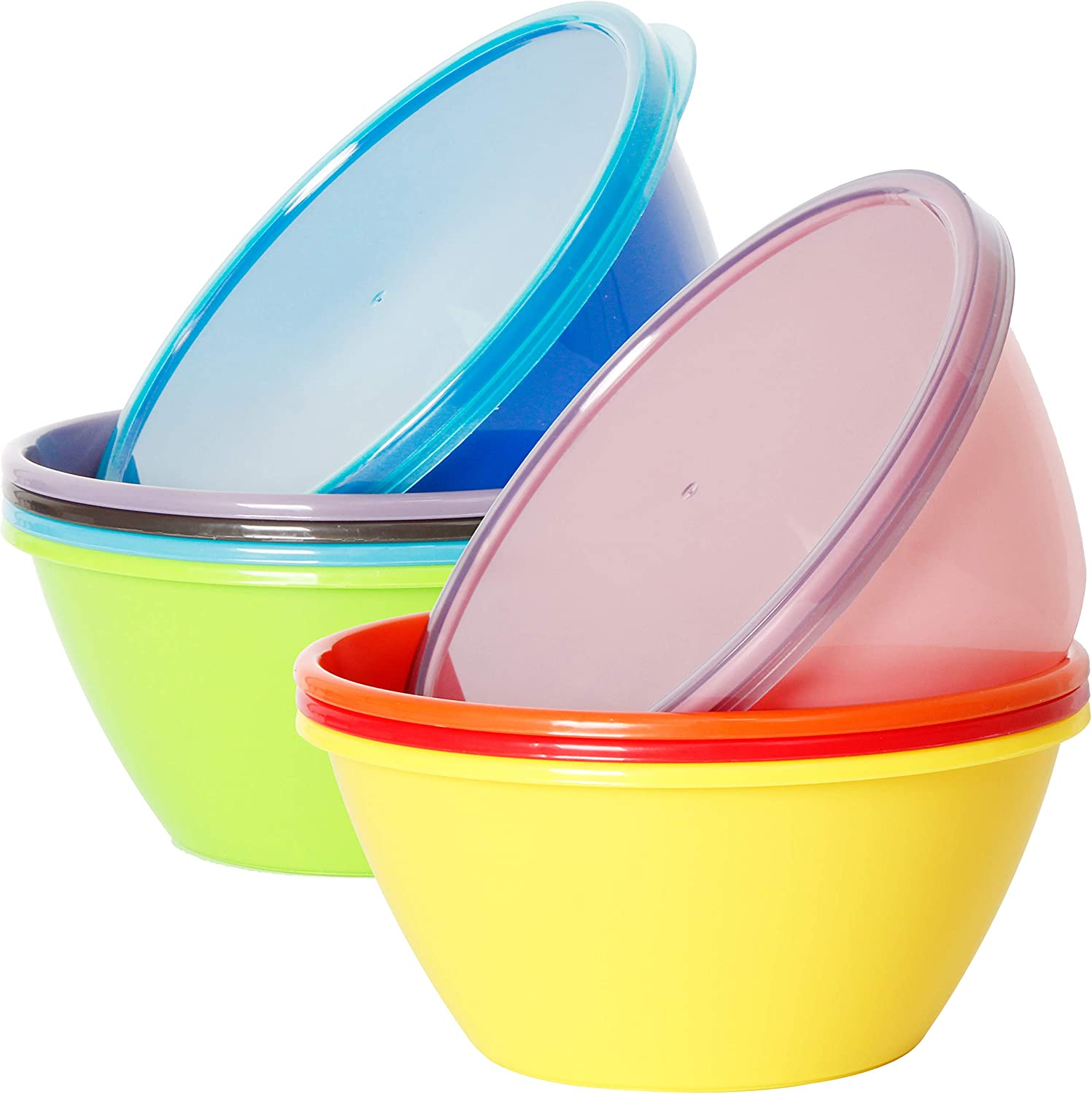 Youngever 22 Ounce Plastic Bowls with Lids, Cereal Bowls, Soup Bowls, Food Storage Containers, Microwave Safe, Dishwasher Safe, Set of 9 in 9 Assorted Colors