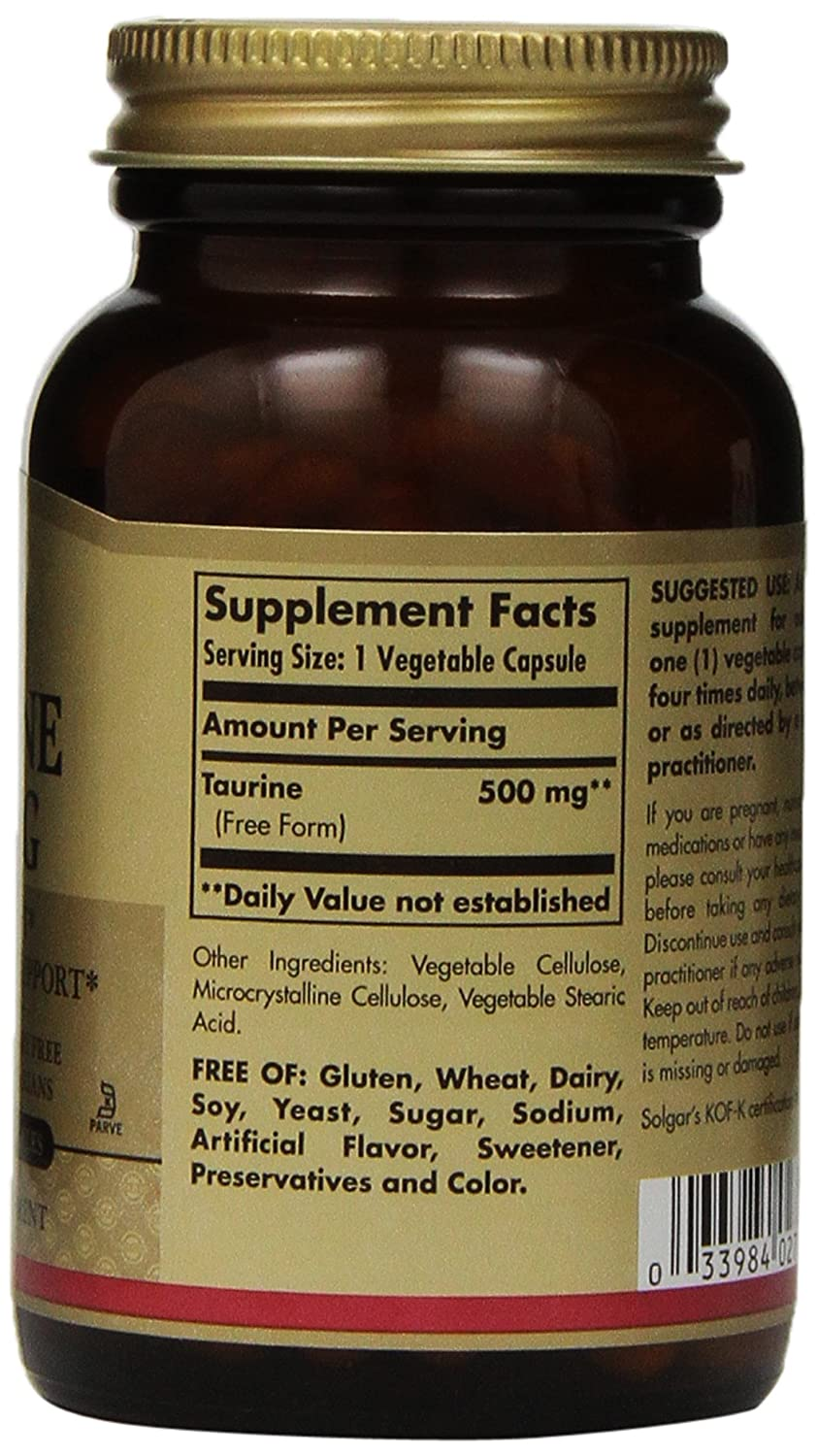 Amazon.com: Solgar - Taurine 500 mg Vegetable Capsules 100 Count: Health & Personal Care
