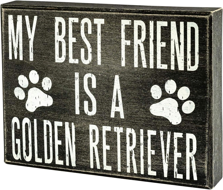 JennyGems - My Best Friend is a Golden Retriever - Wooden Stand Up Box Sign - Golden Retriever Moms Gift Series - Golden Retriever Decor Signs - Rustic Farmhouse Box Sign
