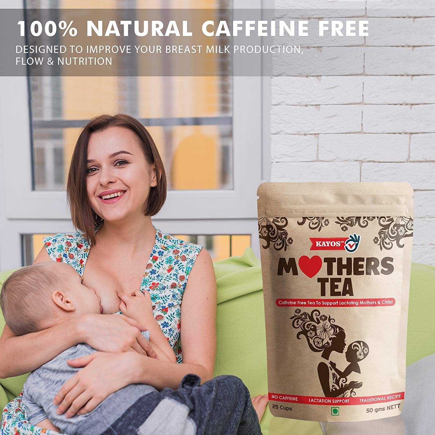 Kayos Mothers Tea for Breastfeeding Mothers – Increase Breast Milk with  Caffeine Free Tea to Support Lactating Mothers & Child with Fenugreek -  50g: ...