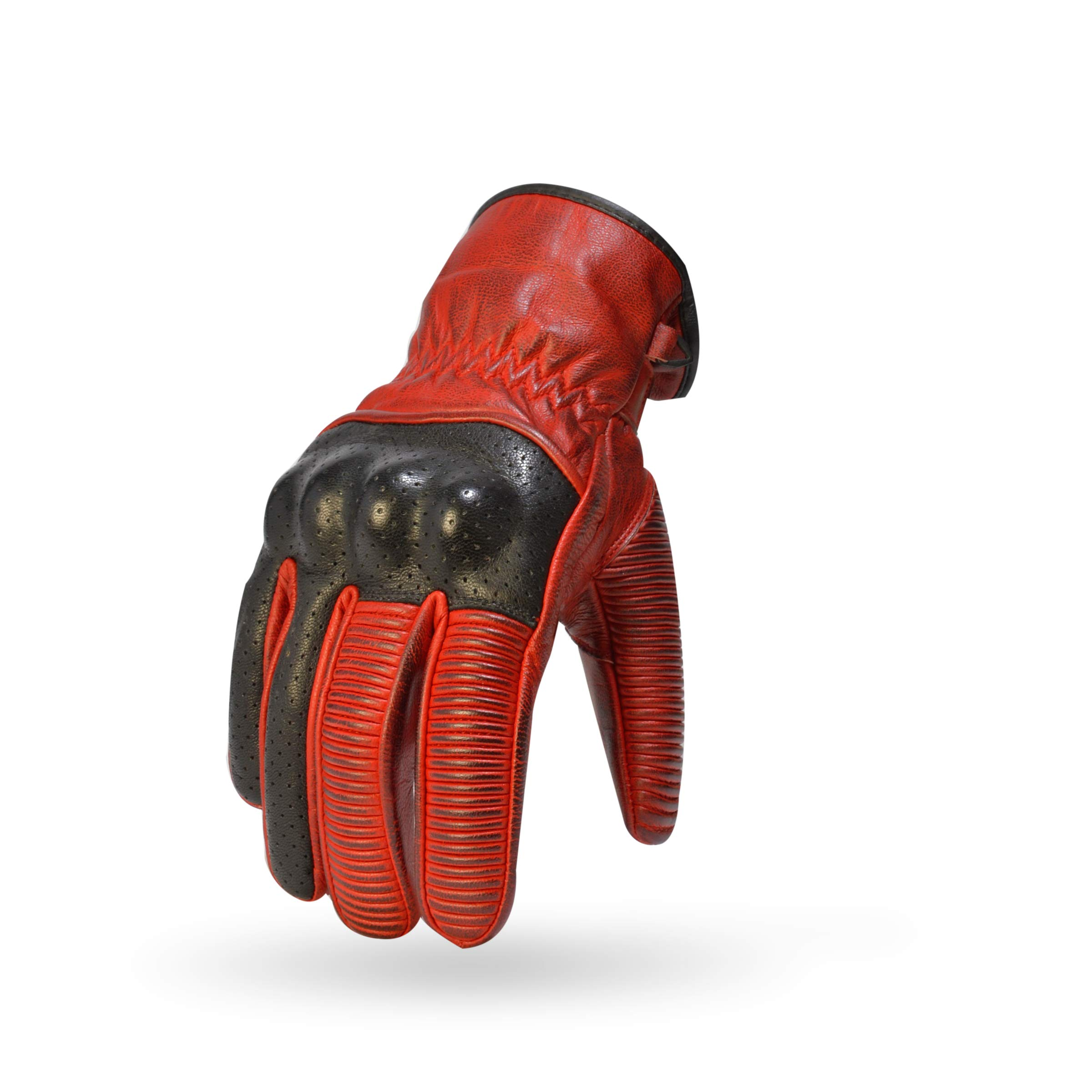 TORC Mens Classic Workman Street Motorcycle Gloves (Whittier Red-XXXLarge)