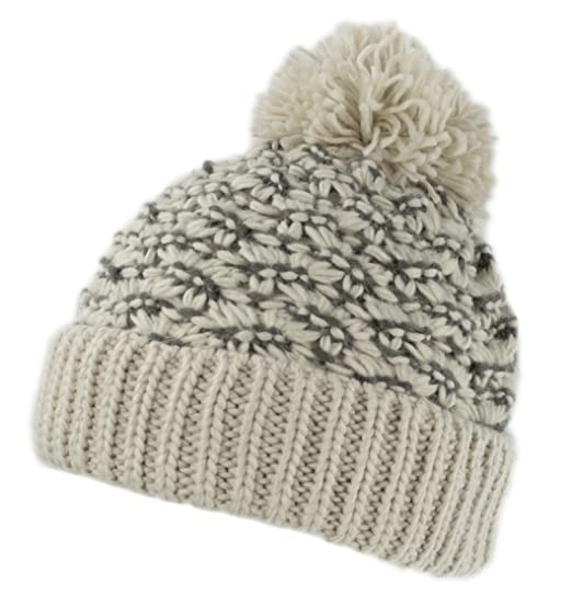 b41bdb6ca HatQuarters Warm Chunky Cable Knit Winter Skully Cap With Cuff, Dope Beanie  Hat With Pom