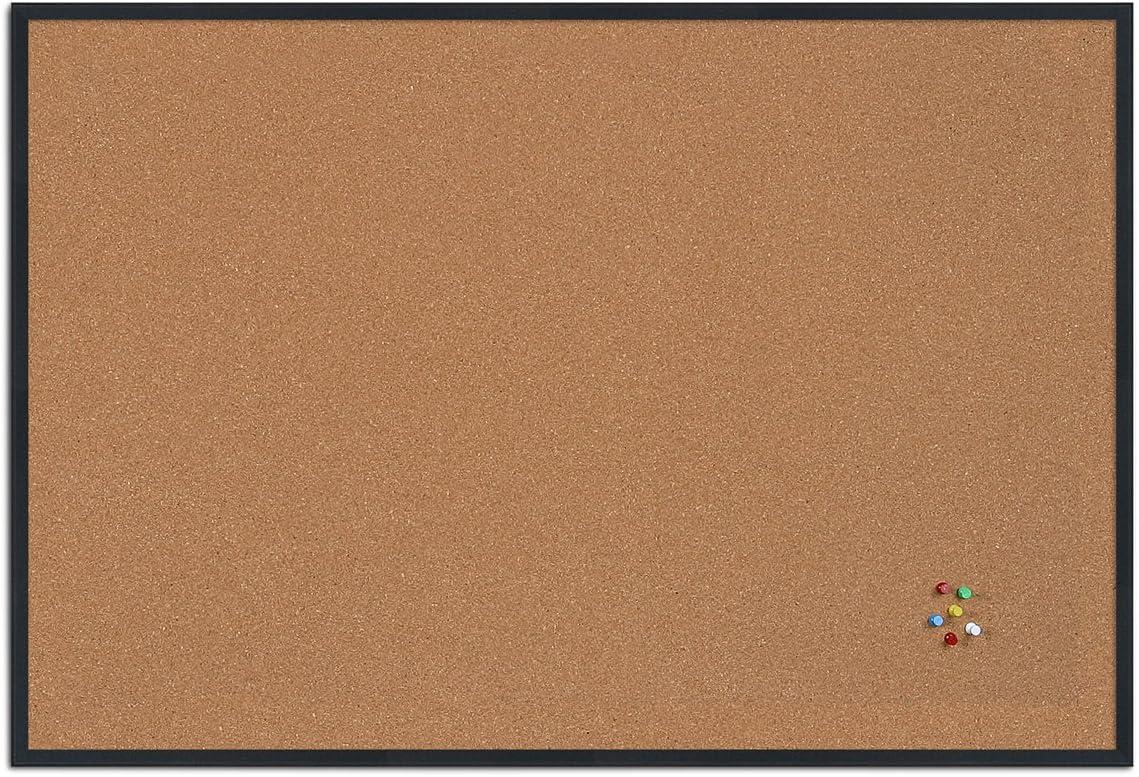 Bacheca Sughero per Puntine Spille Memoboard ALLboards Lavagna in Sughero con Cornice in Legno 80x50cm