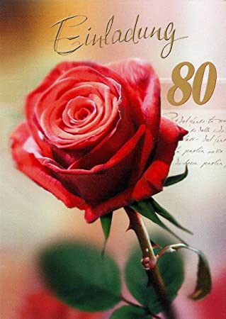 Einladungskarten 80 Geburtstag Frau Mann Mit Innentext Motiv Rote