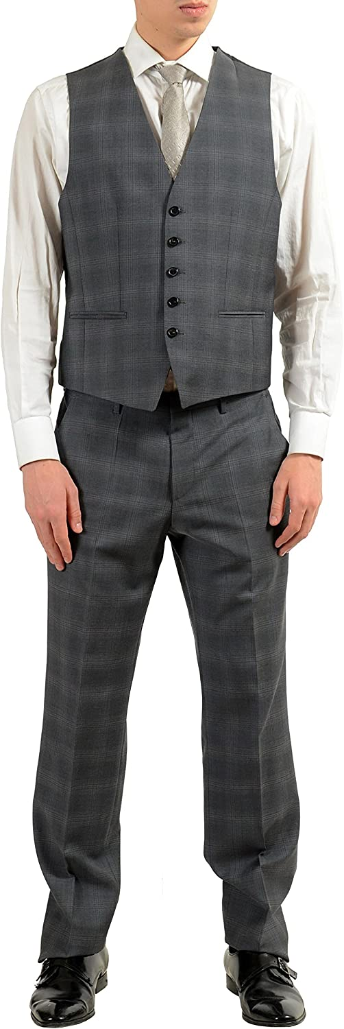 Hugo Boss The Grand//Central2WE Mens 100/% Wool Plaid Three Piece Suit Sz US 38R IT 48R Gray
