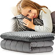 Snuggle Pro Weighted Blanket for Kids - 7 lbs Heavy Blanket for Sleeping, 41''x60'' - Set with Cool Bamboo & Minky Reversible Cover - Natural Comfort for Children - Sensory Weighted Blanket