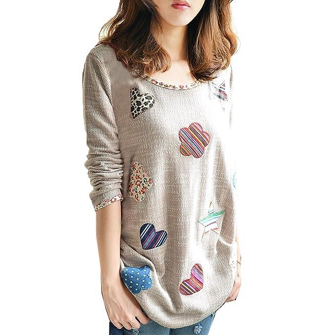 Minetom Mujeres Moda Suéter Estilo Casual Camisas Cuello Redondo Sweatshirts Blusa Tops Caqui ES 34