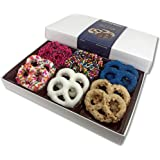 Bonheur Handcrafted Chocolate Covered Pretzels – Gourmet Chocolates – Dairy Free Chocolate Gift Box for Valentine's Day, Christmas, Birthdays, Get Well – Kosher Chocolate Box – 12 Pack (Assorted 1)