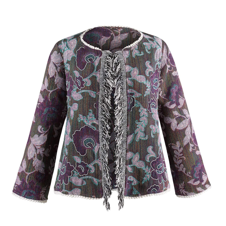 Floral Embroidered Coat CATALOG CLASSICS Womens Fringe Front Jacquard Jacket