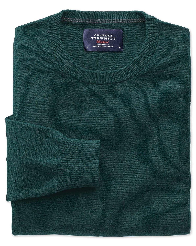 Charles Tyrwhitt Mid green cotton cashmere crew neck jumper