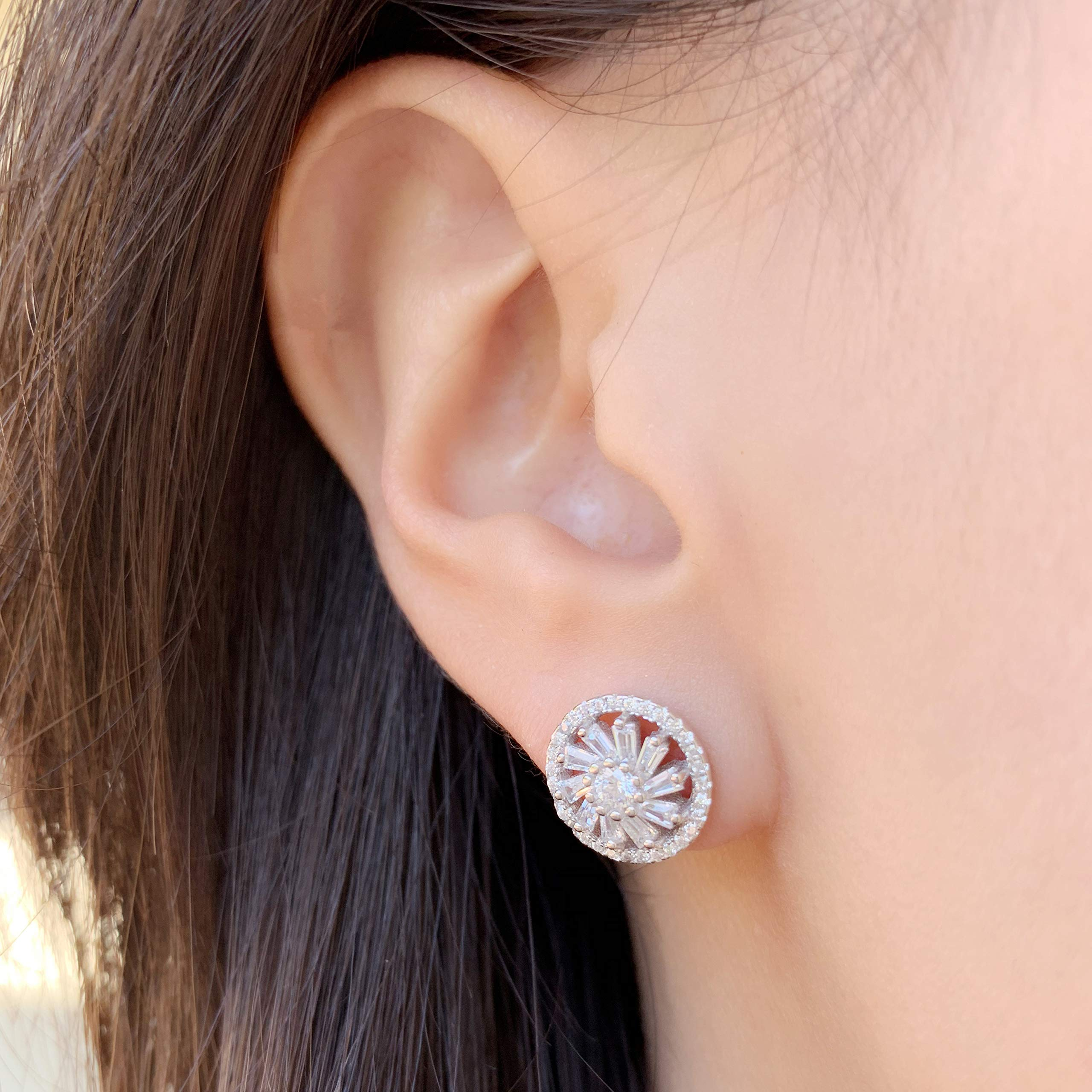 Rhodium-Plated Sterling Silver Cubic Zirconia Double Halo Stud Earrings