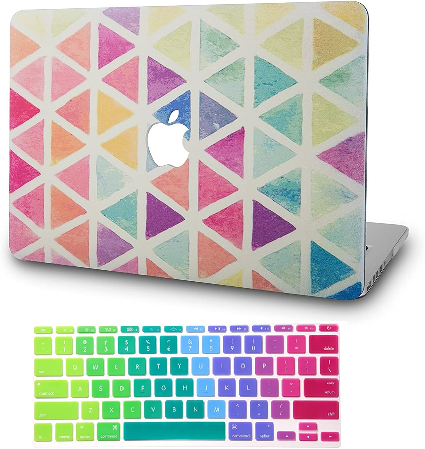 """KECC Laptop Case for MacBook Air 13"""" w/Keyboard Cover Plastic Hard Shell Case A1466/A1369 2 in 1 Bundle (Color Triangles)"""
