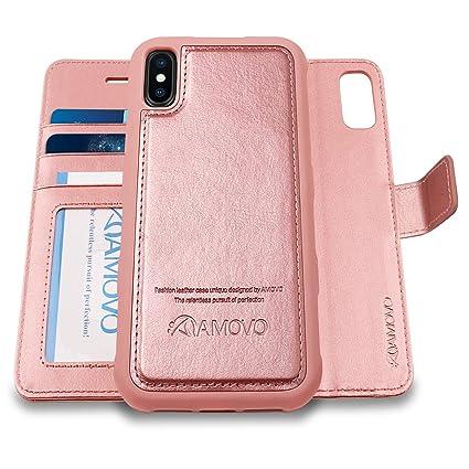 Amazon.com: AMOVO - Funda tipo cartera para iPhone XS Max [2 ...