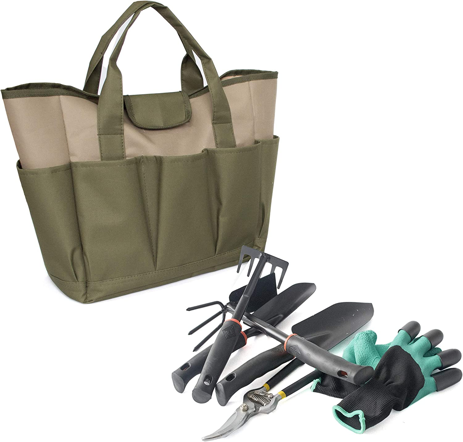 Garden Tote Canvas Accessories Green Set Kit Garden Tools Storage Bag with Pockets Gardening Gifts for Women