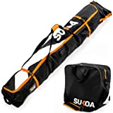 Ski Bag and Ski Boot Bag Combo for Air Travel Unpadded - Ski Luggage Bags for Snow Travel Gear - Ski Case for Cross Country,
