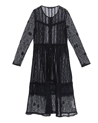 c087e692 Zara Women Contrast lace Dress 8741/023 Black at Amazon Women's ...
