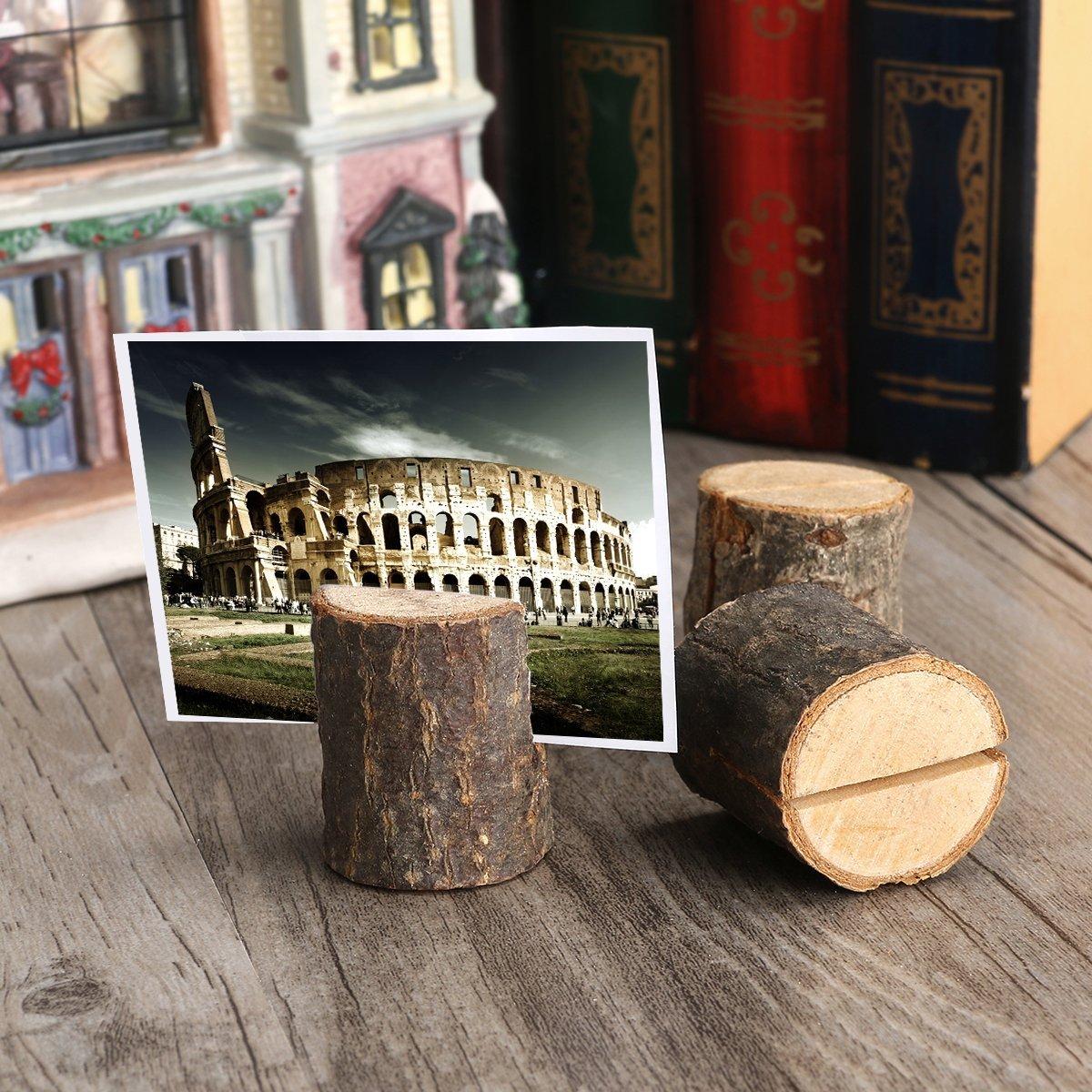 Tinksky 10pcs Porte-photo Pince /à Carte M/émo Note Clip Titulaire en Bois Tableau D/écoration