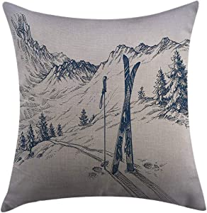 Mugod Decorative Throw Pillow Cover for Couch Sofa Home Decor,Winter Sketchy Graphic of a Downhill with Ski Elements in Snow Relax Calm View Blue White Pillow case 18x18 Inch