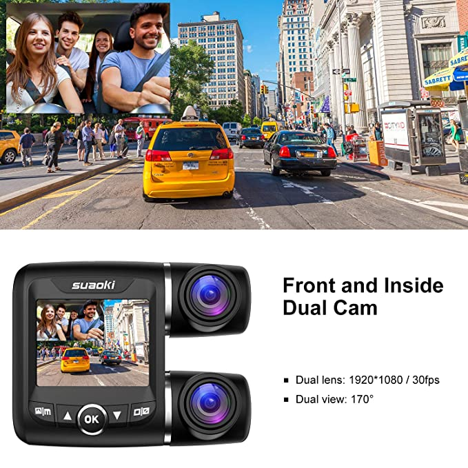 SUAOKI Dual Dash Cam with Front and Rear Full HD 1920x1080p 2.0 Inch Display and 170/° Wide Angle with G-Sensor Night Vision Loop Recording WDR Parking Monitor 128GB for Uber Lyft Cars Taxi Trucks