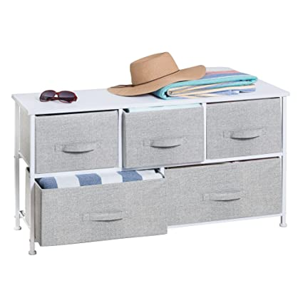 MDesign Extra Wide Dresser Storage Tower   Sturdy Steel Frame, Wood Top,  Easy Pull