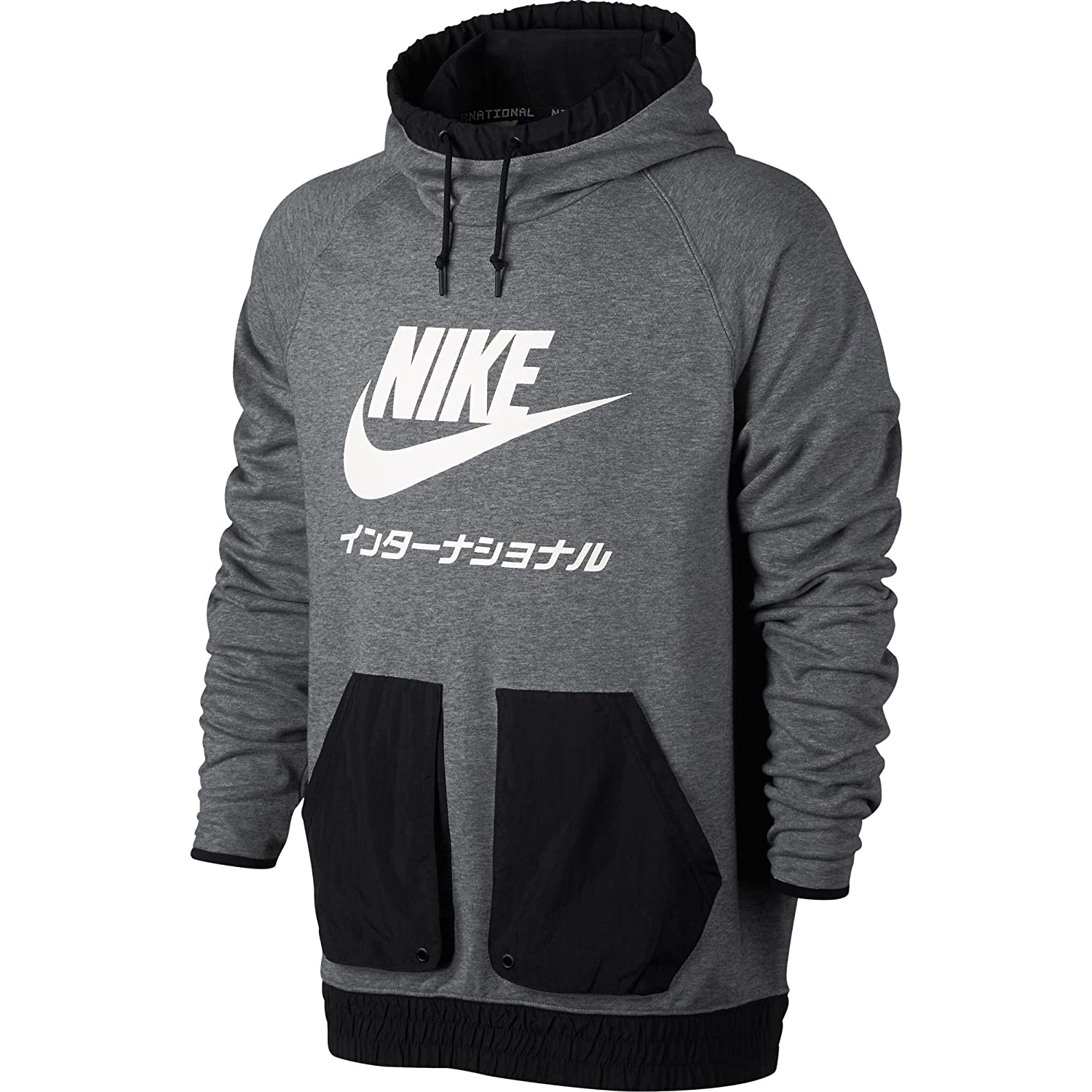 69766c43 Nike International Men's Pull Over Hoodie Carbon Heather/Black/White  831132-091 at Amazon Men's Clothing store:
