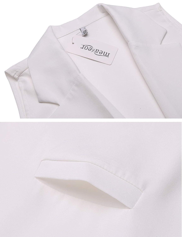 Meaneor Womens Long Sleeveless Duster Gilet Open Lapel Pocket Vest Blazer Jacket