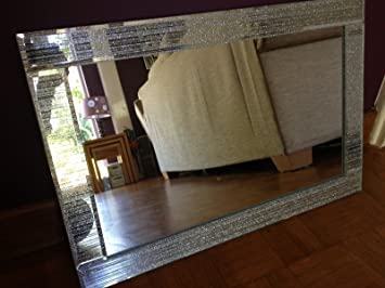 Glitter Silver Mirror Frame Glass Living Room Lounge Bedroom Wall 40x60cm