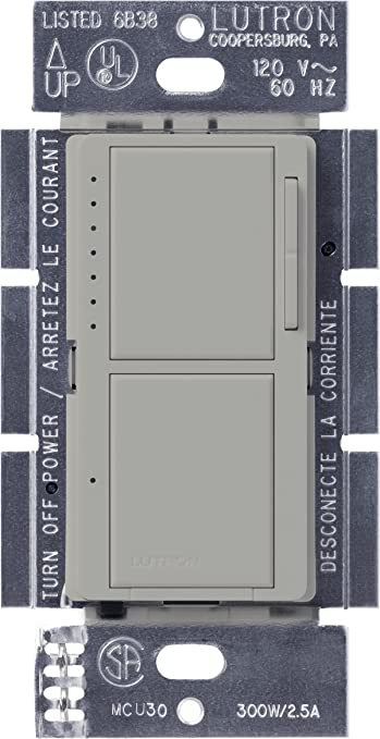 Lutron Ma L3s25 Gr Maestro 300 Watt Single Pole Digital Dimmer And 2 5 Amp On Off Switch Gray Wall Dimmer Switches Amazon Com