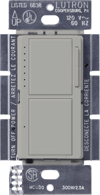 Gray Lutron Electronics Company Inc. Lutron MA-L3S25-GR Maestro 300-Watt Single-Pole Digital Dimmer and 2.5 Amp On//Off Switch