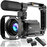 Video Camera 4K Camcorder Ultra HD 48MP Vlogging Camera for YouTube WiFi Night Vision Camcorder Touch Screen 16X Digital Zoom