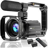 Video Camera 4K Camcorder Ultra HD 48MP Vlogging Camera for YouTube WiFi Night Vision Camcorder Touch Screen 16X Digital…