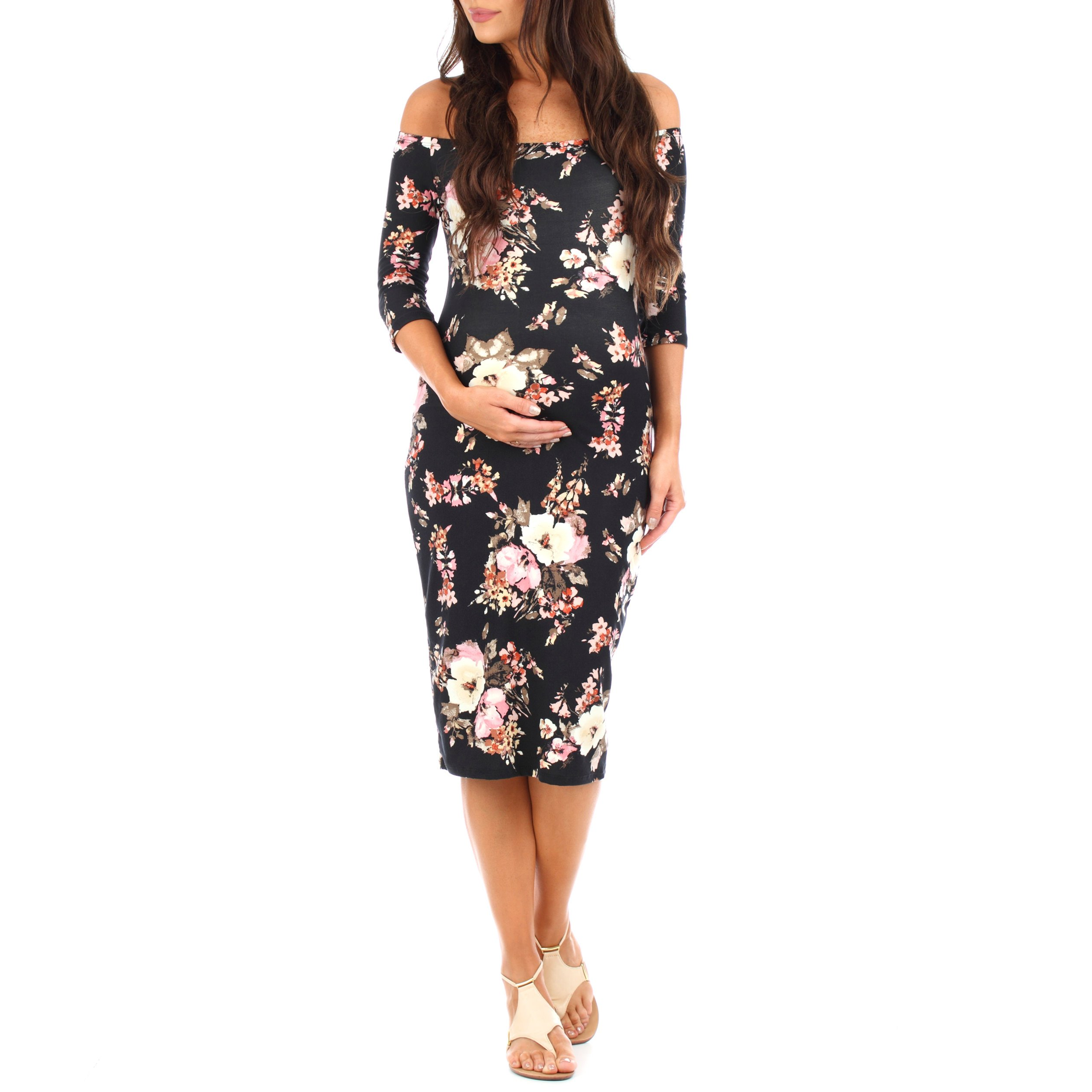 Women's Maternity Open Shoulder Dress in Floral Print - Made in USA