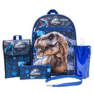 Jurassic World Backpack Combo Set - Jurassic Park Boys' 6 Piece Backpack Set - Jurassic World Backpack & Lunch Kit (Black) | Kids' Backpacks