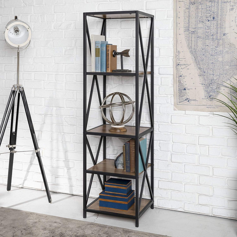 WE Furniture AZST18XMWRO Mixed Material Bookshelf Rustic Oak