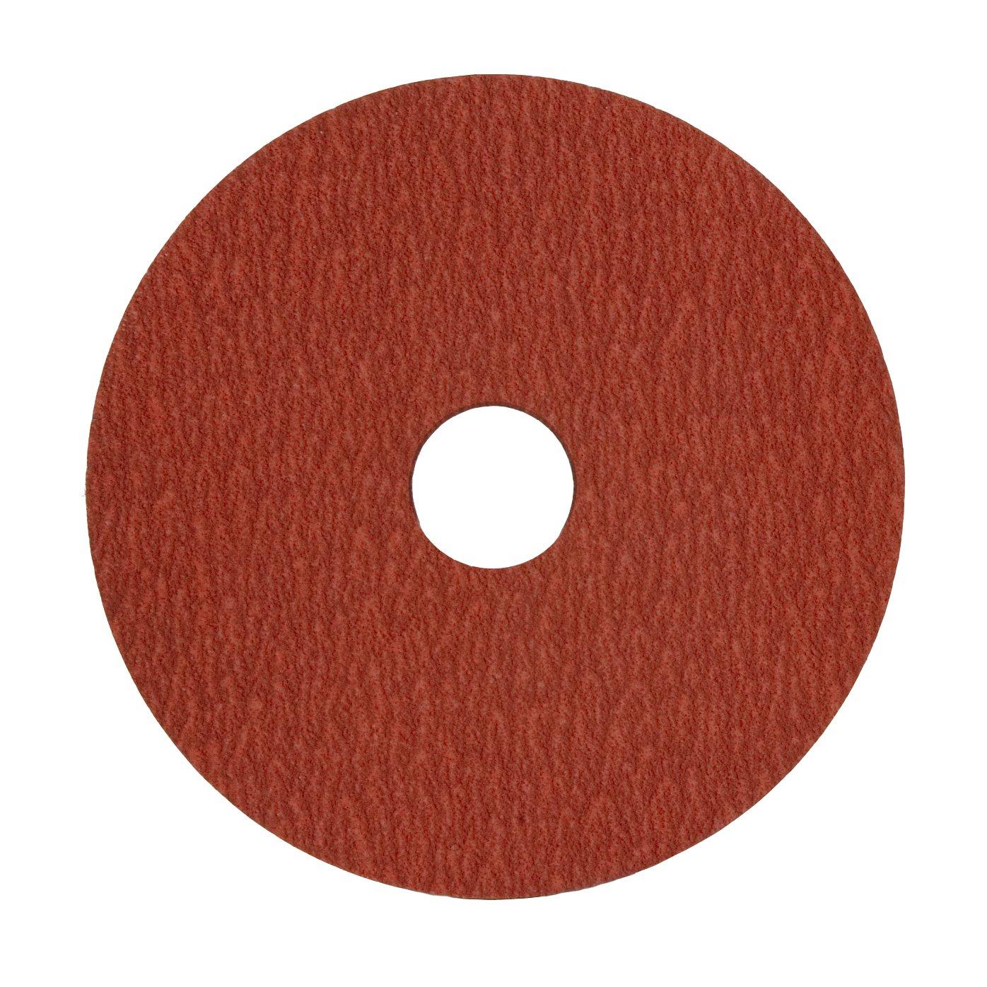 VSM 149556 Resin Fiber Disc, Red, Medium Grade, Fiber Backing, Ceramic Plus, 120 Grit, 5'' X 7/8'' Arbor Hole, Pack of 50