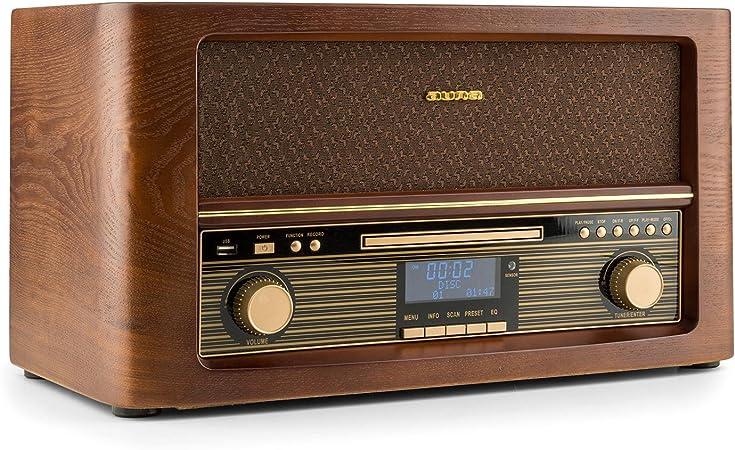 AUNA Belle Epoque 1906 - Equipo estéreo, Minicadena Retro, Dab+, Radio Digital, Bluetooth, Reproductor de CD, MP3, USB, RDS, Digitalizador, Diseño ...
