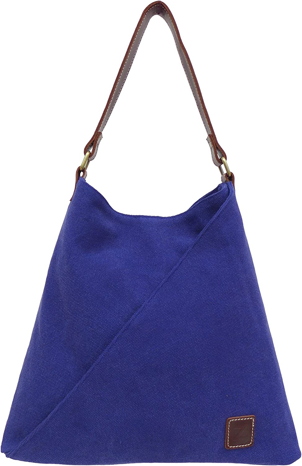 TATYZ Women Bright Color Organic Cotton and Genuine Leather Triangular Single Handle Summer Tote Bag