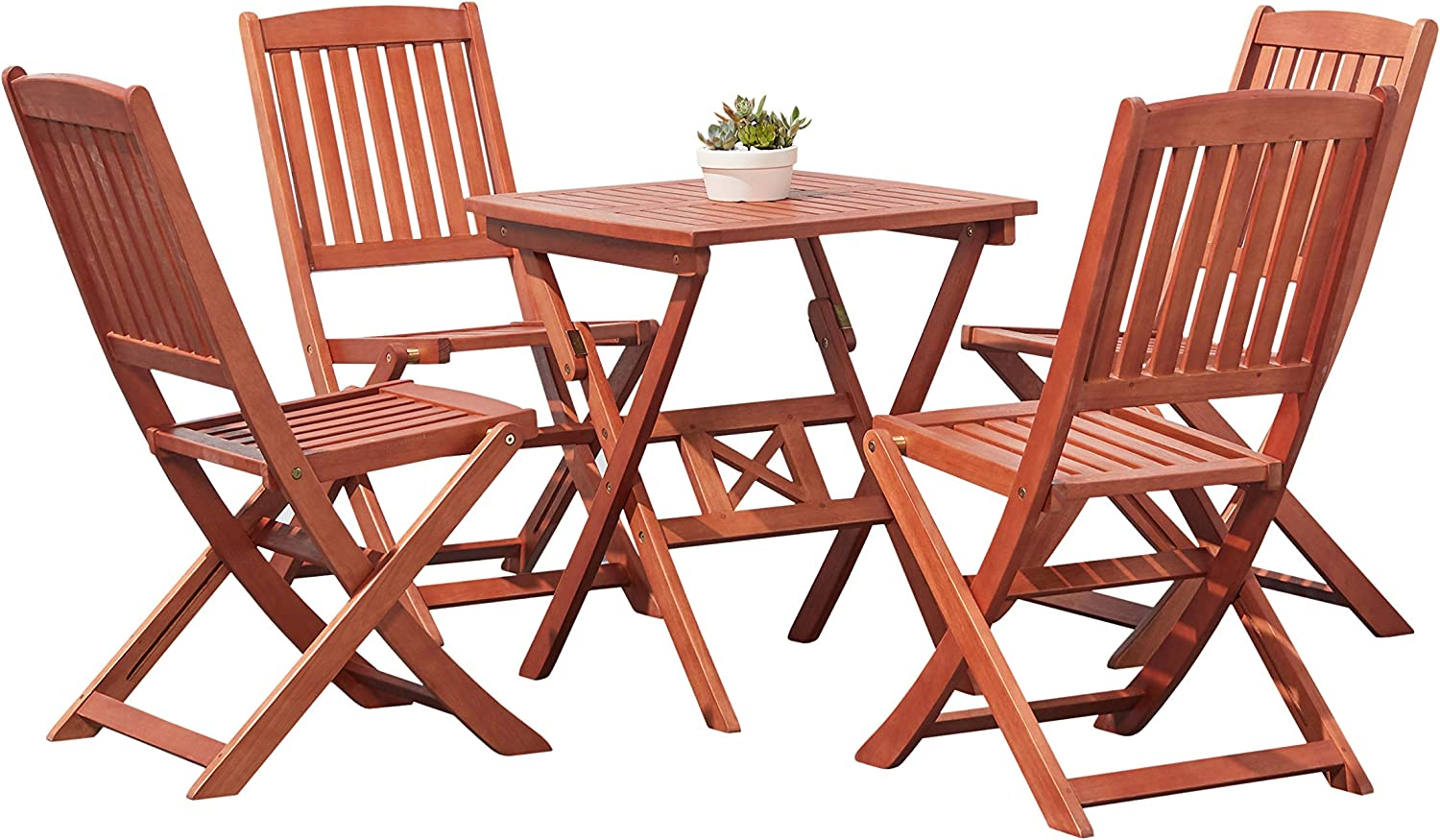 VIFAH V03SET2 Outdoor Wood 5-Piece Dining Set, Natural Wood Finish, 24 by 24 by 27-Inch