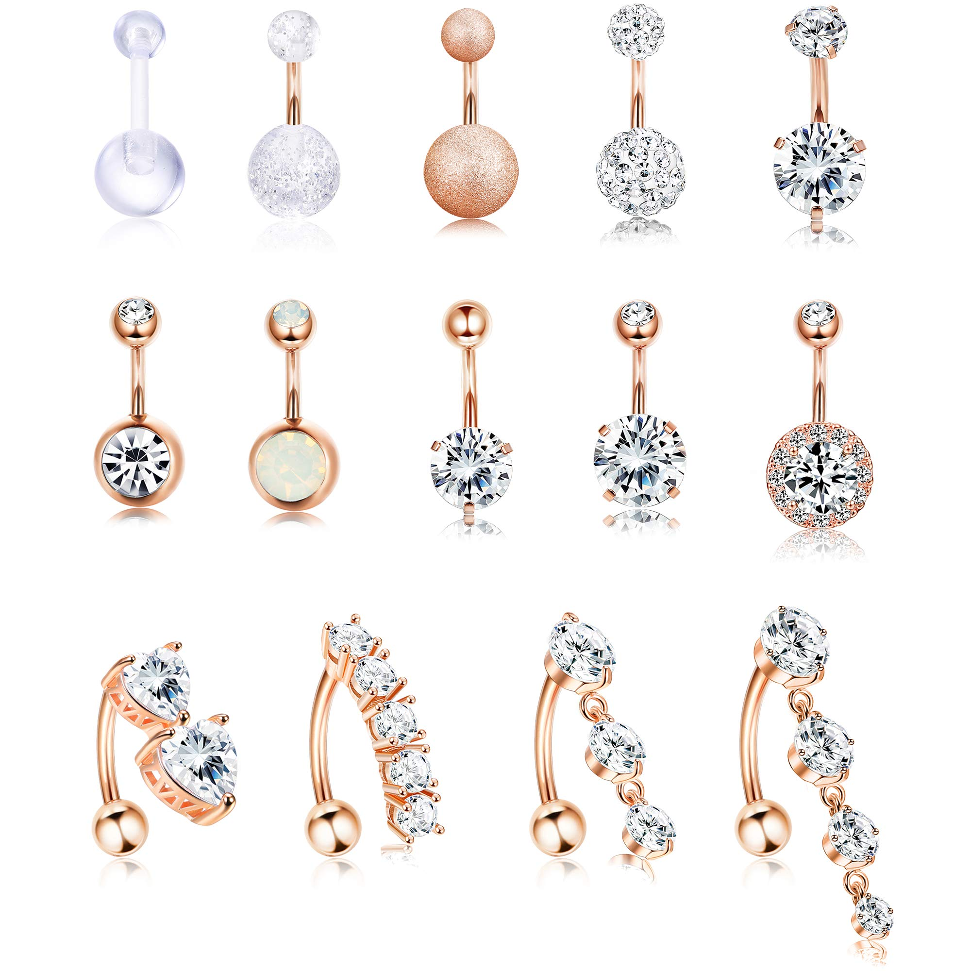 Jstyle 14Pcs Stainless Steel Belly Button Rings for Women Girls Reverse Navel Rings Curved Barbell CZ Body Piercing Jewelry 14G by Jstyle