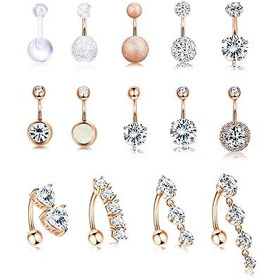 Amazon.com: Jstyle - 14 anillos de ombligo de acero ...