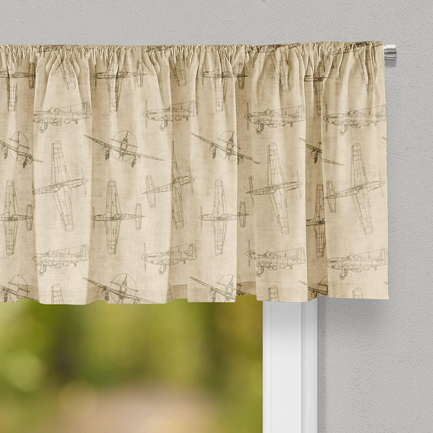 Glenna Jean Airplanes Curtain Valance 70W x18H for Kids Window