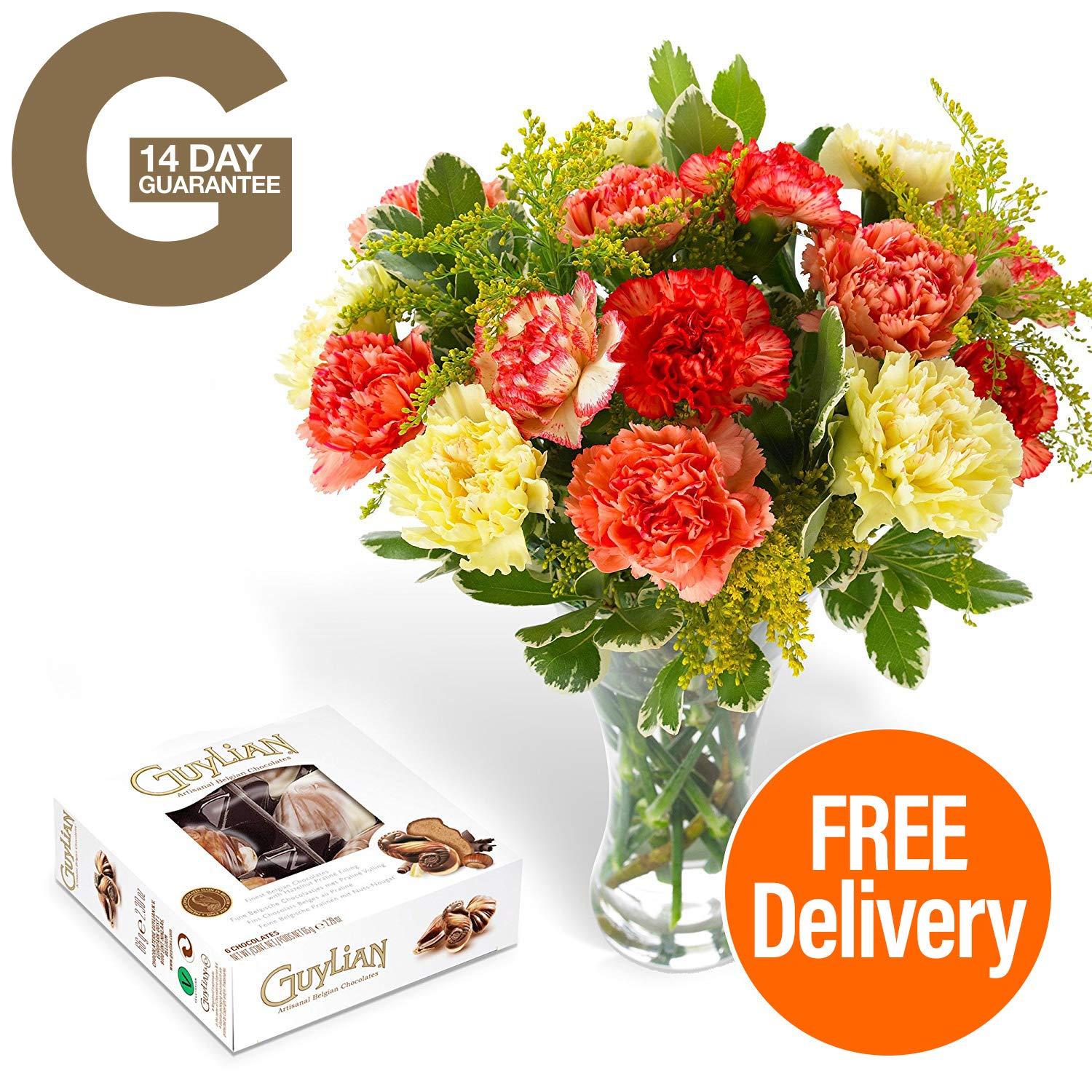 Fresh flowers delivered free uk delivery luxury carnation fresh flowers delivered free uk delivery luxury carnation bouquet with free chocolates flower food and bonus ebook guide perfect for birthdays izmirmasajfo