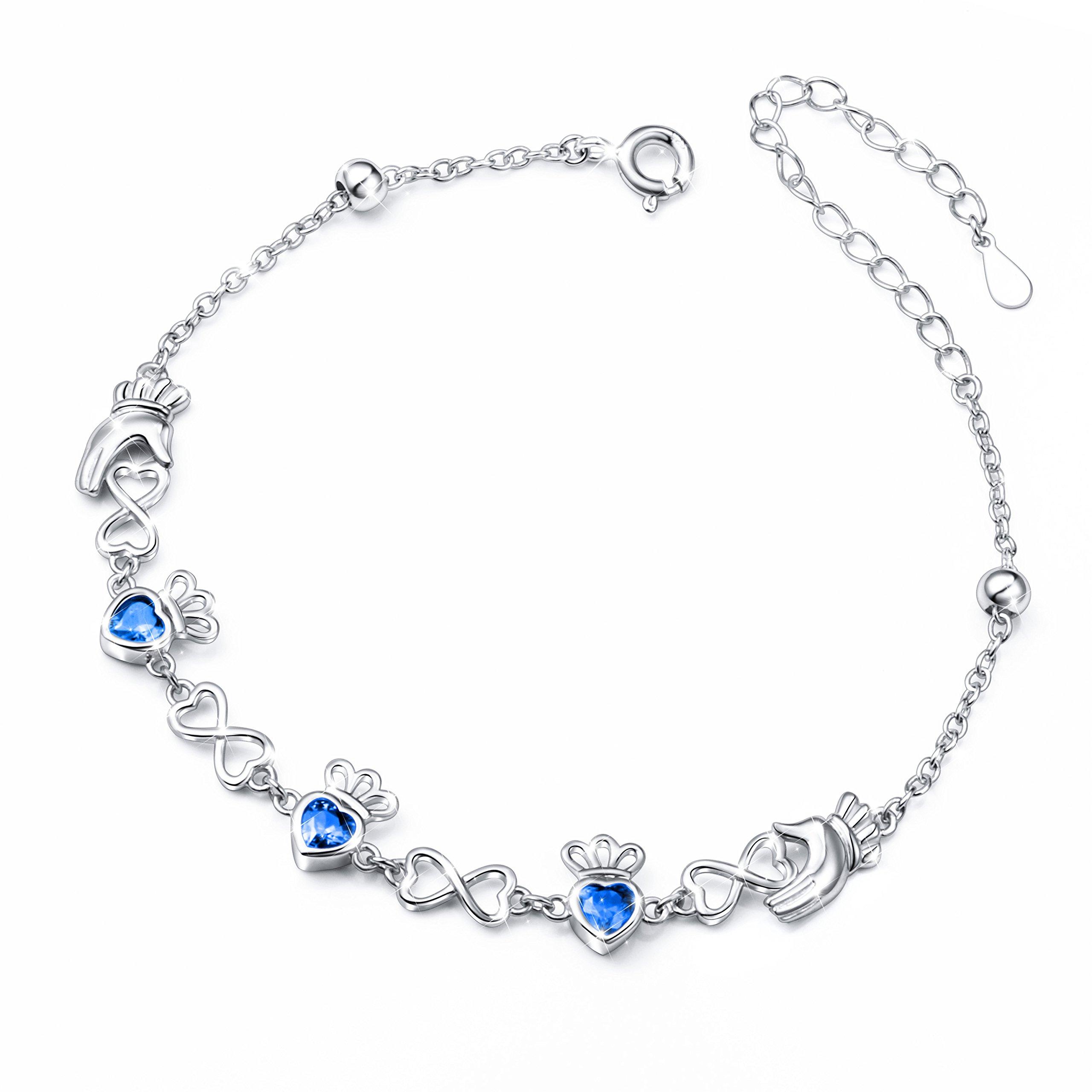 S925 Sterling Silver Adjustable Irish Celtic Claddagh Love Heart Bracelet for Women, 7''+2'' Extender (Blue)
