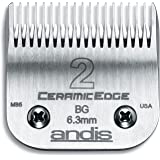 Andis 63030 CeramicEdge Carbon-Infused Steel Clipper Blade, Size 2, 1/4-Inch Cut Length
