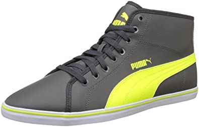 15990b208f87 Puma Men s Elsu V2 Mid Sl Idp Dark Shadow and Safety Yellow Sneakers - 10 UK