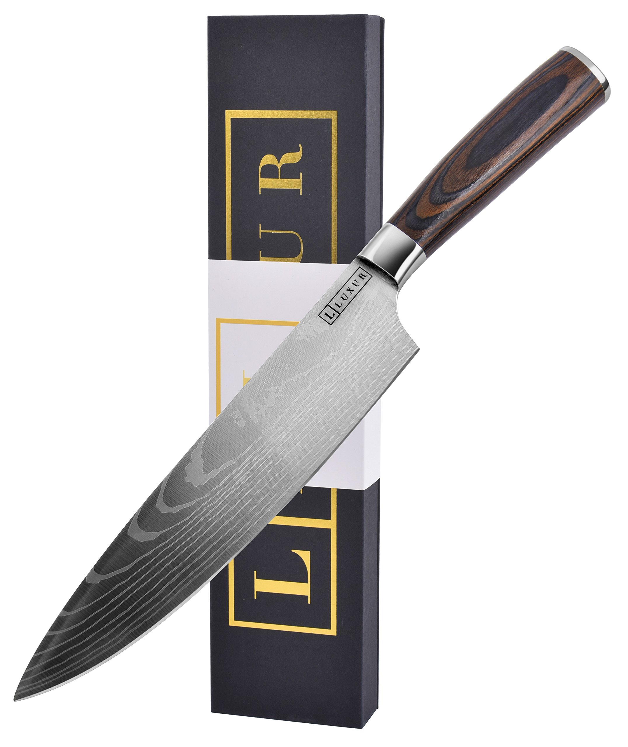 Kitchen Chef Knife by LUXUR, Luxury & Professional High Carbon Steel Knife - Pro Custom Knife designed for Chef - 8 Inch Stainless Steel Blade - Razor Sharp Edge with Smooth Wood Handle and Gift Box